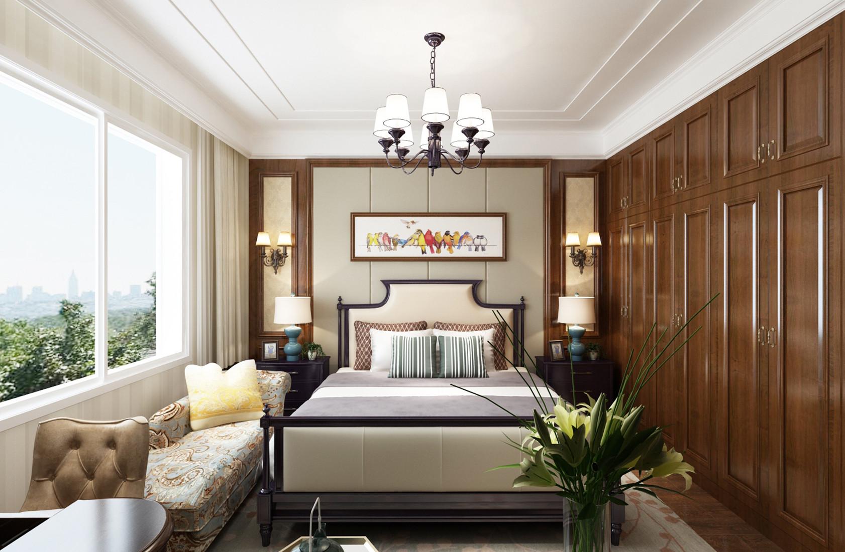四居室美式风格装修主卧设计图