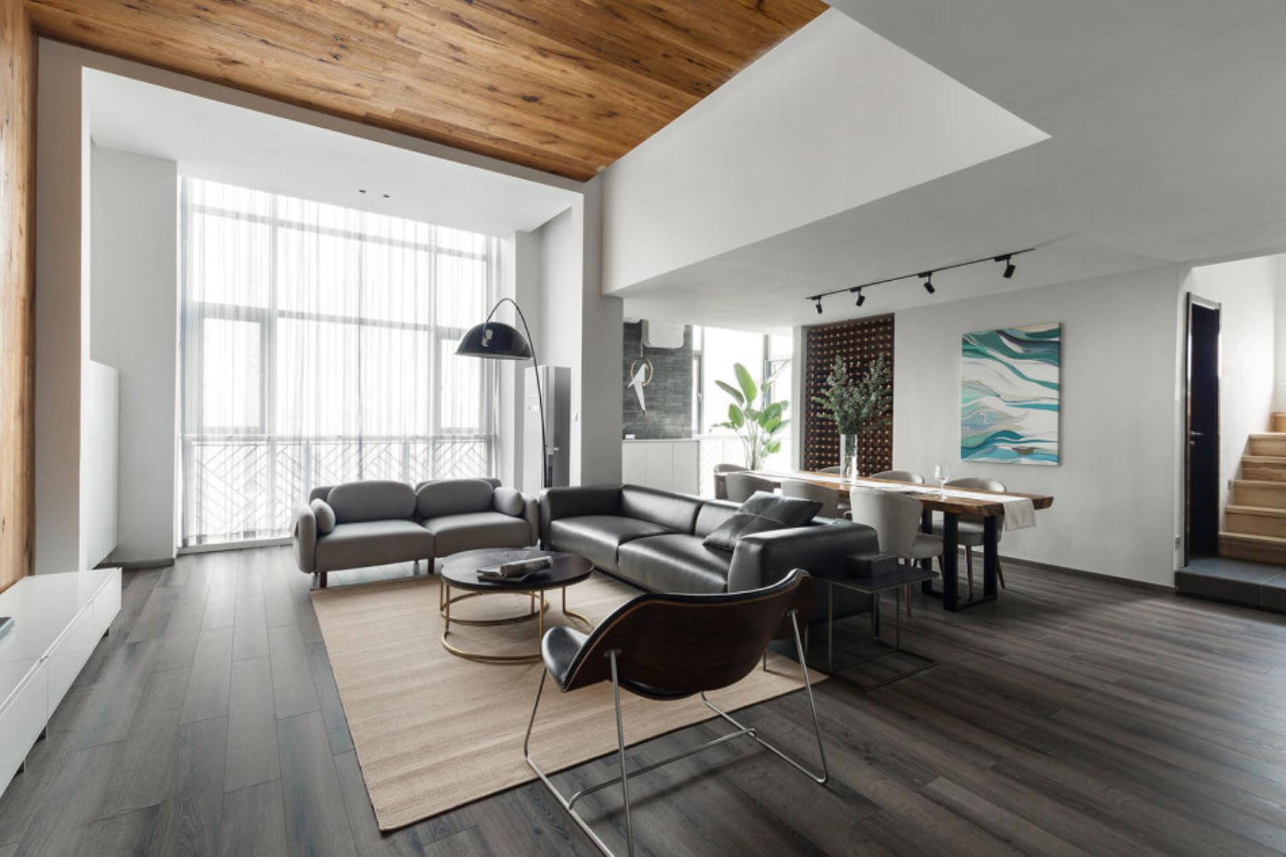 现代简约复式装修客厅搭配图