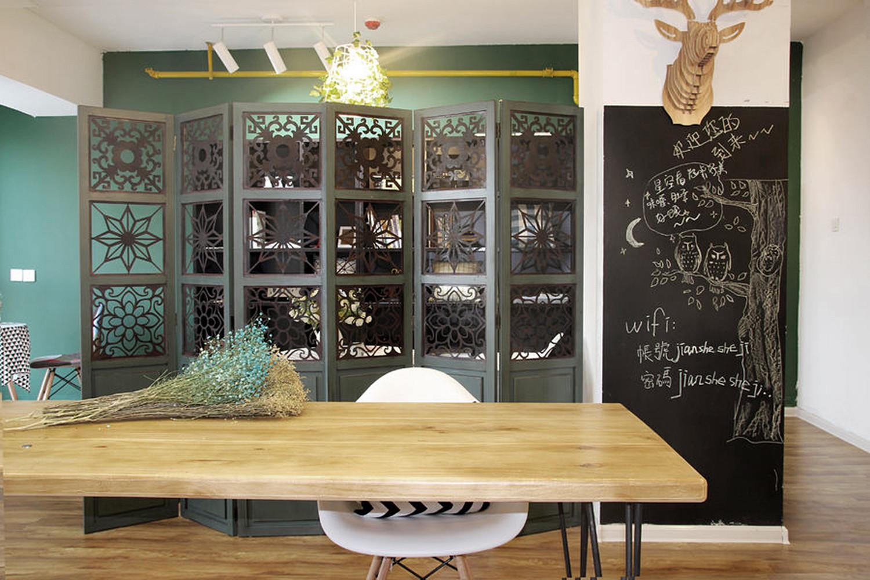 小型工作室混搭装修餐厅背景墙图片