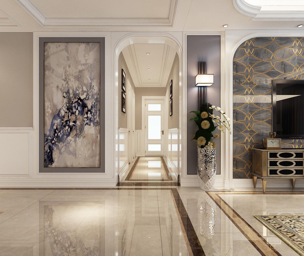 大户型时尚欧式家装修过道图片
