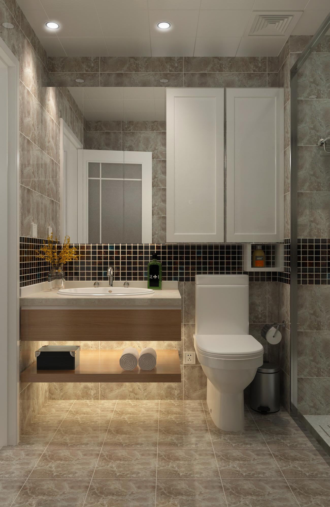 100平三居室装修卫生间装潢图