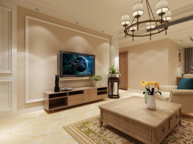 130㎡美式风格家电视背景墙图片