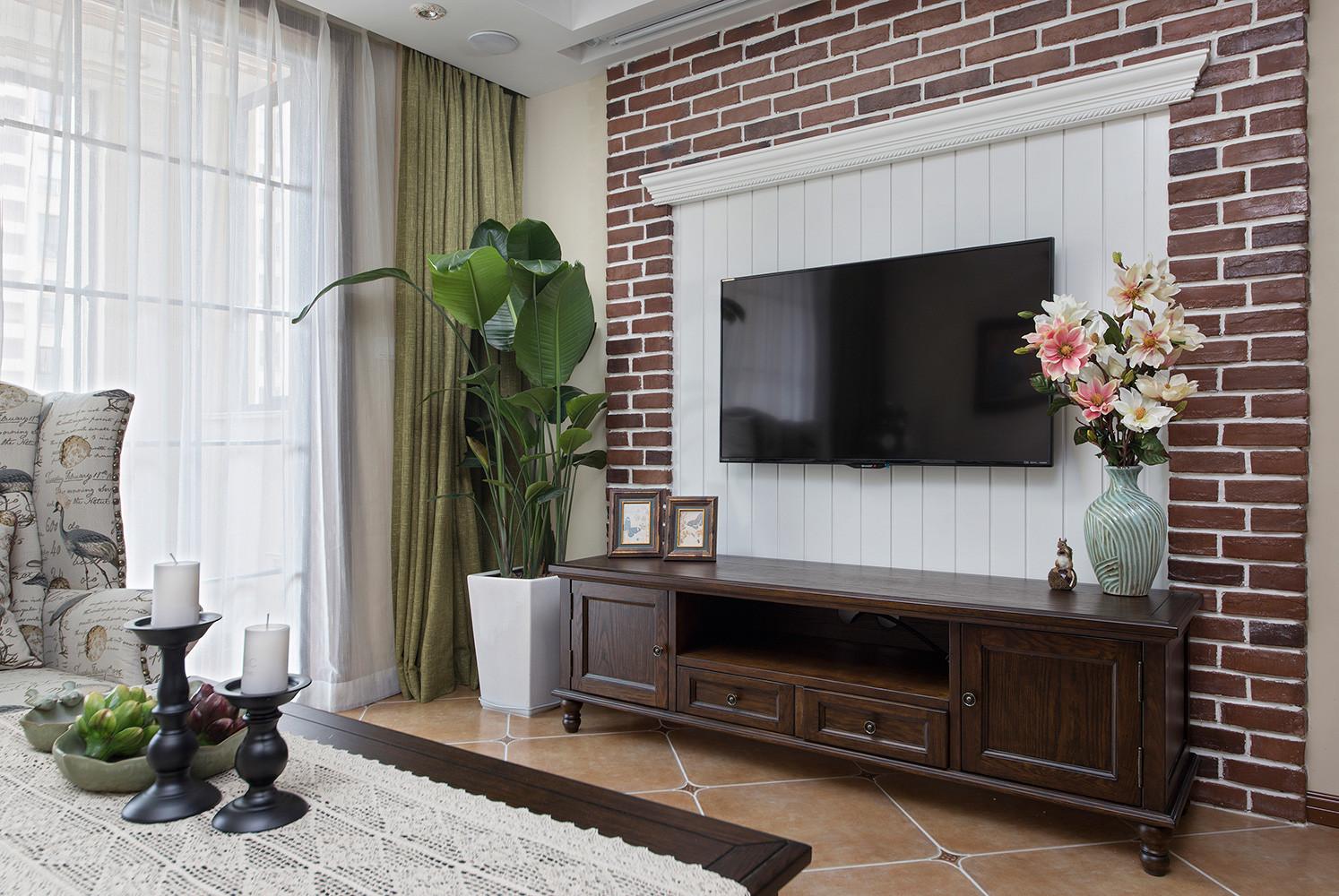 三居室美式风格家电视背景墙图片