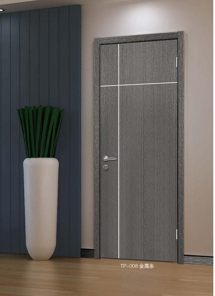 【塞科蒂名门]TP-008(金属条)实木复合固化漆木门