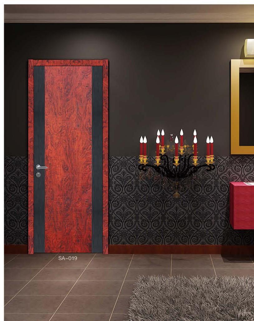 【塞科蒂名门】SA-019豪门红花梨实木复合固化漆木门