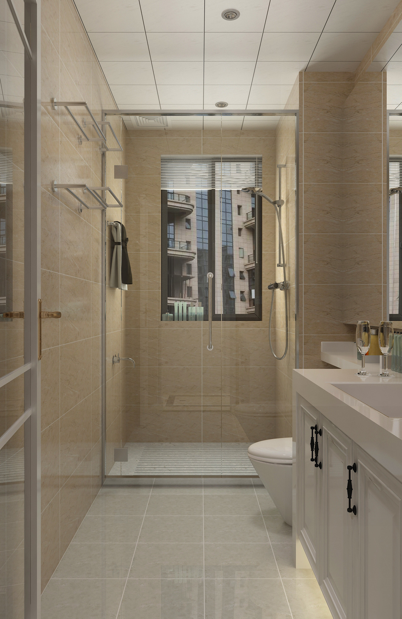 130平二居室装修卫生间设计图