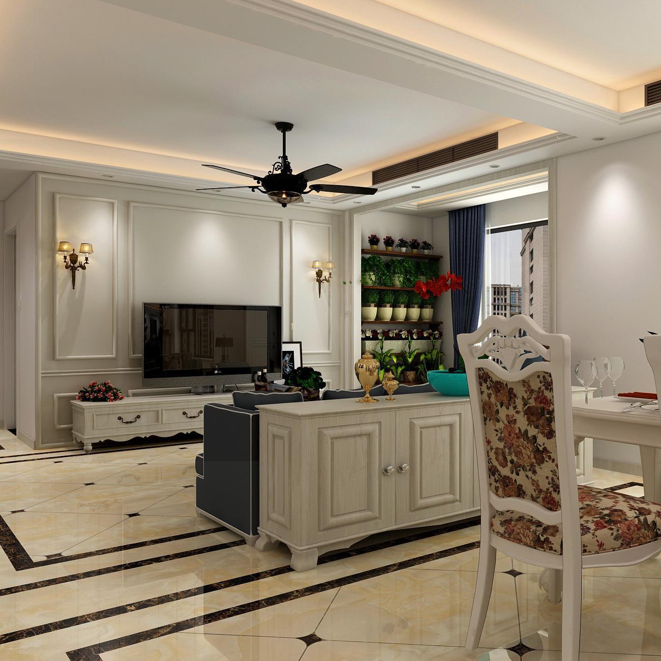 130平二居室装修设计效果图