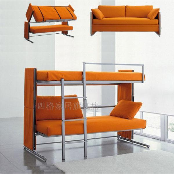 四格上下铺折叠沙发床铁架双人沙发小公寓沙发民宿双层功能沙发床|流行欧美,占地小,上下铺,进口技术图纸,下定后15天发货.
