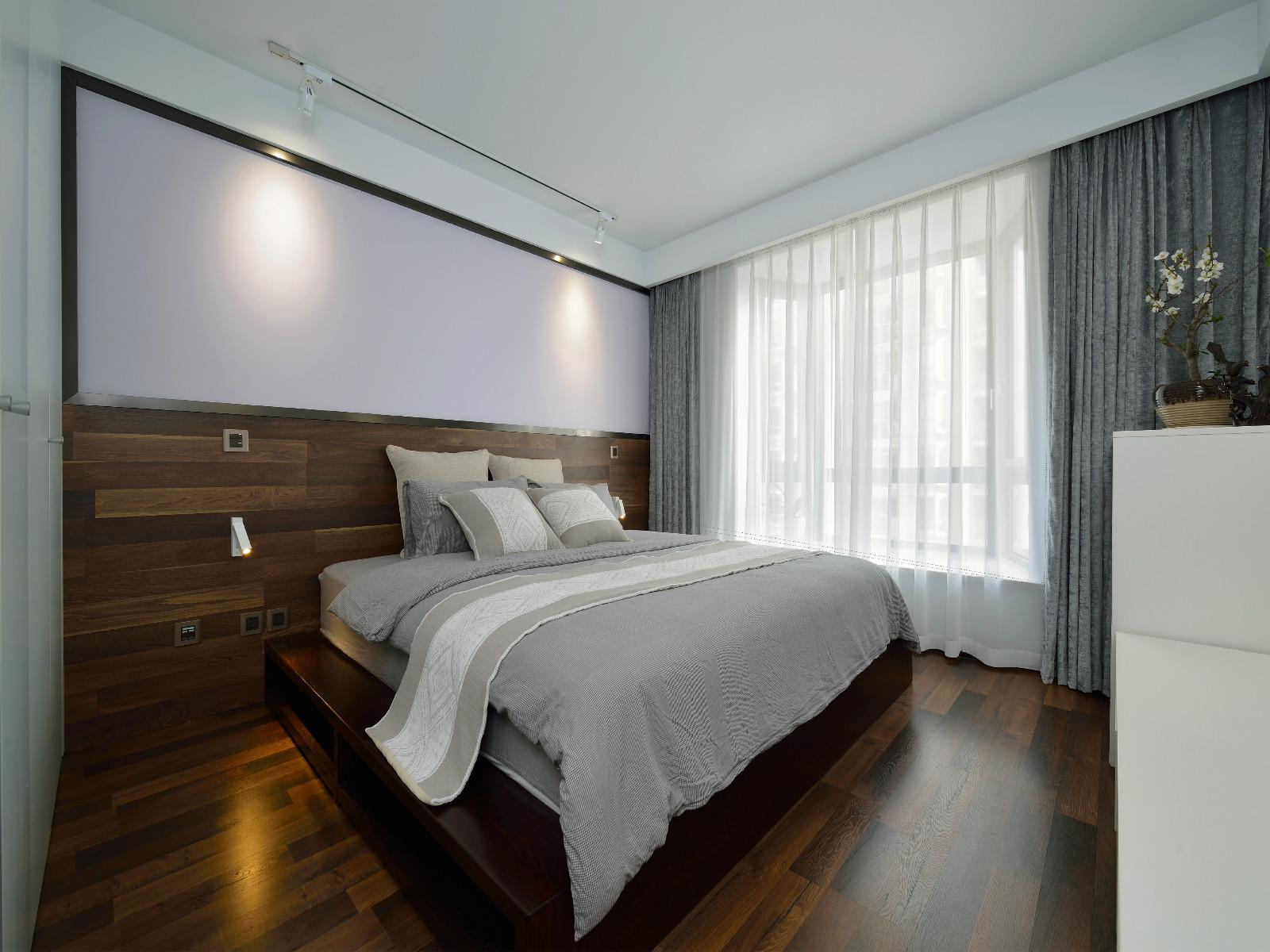 120㎡现代简约装修床头背景墙图片