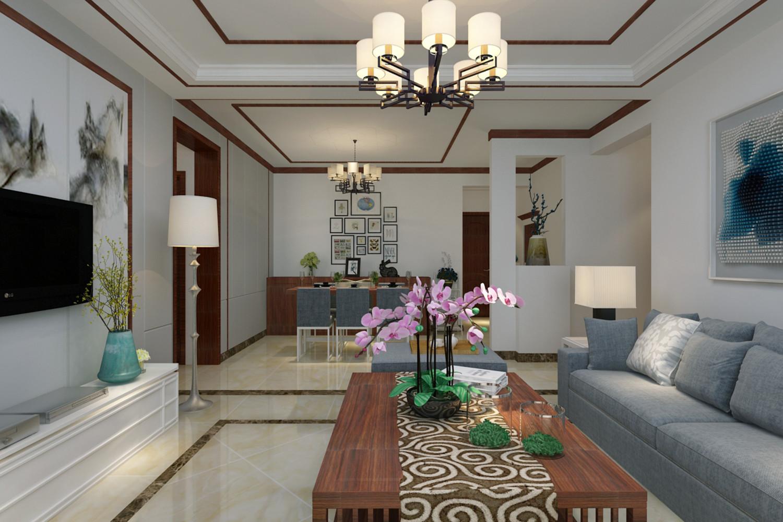 130平新中式设计客餐厅效果图