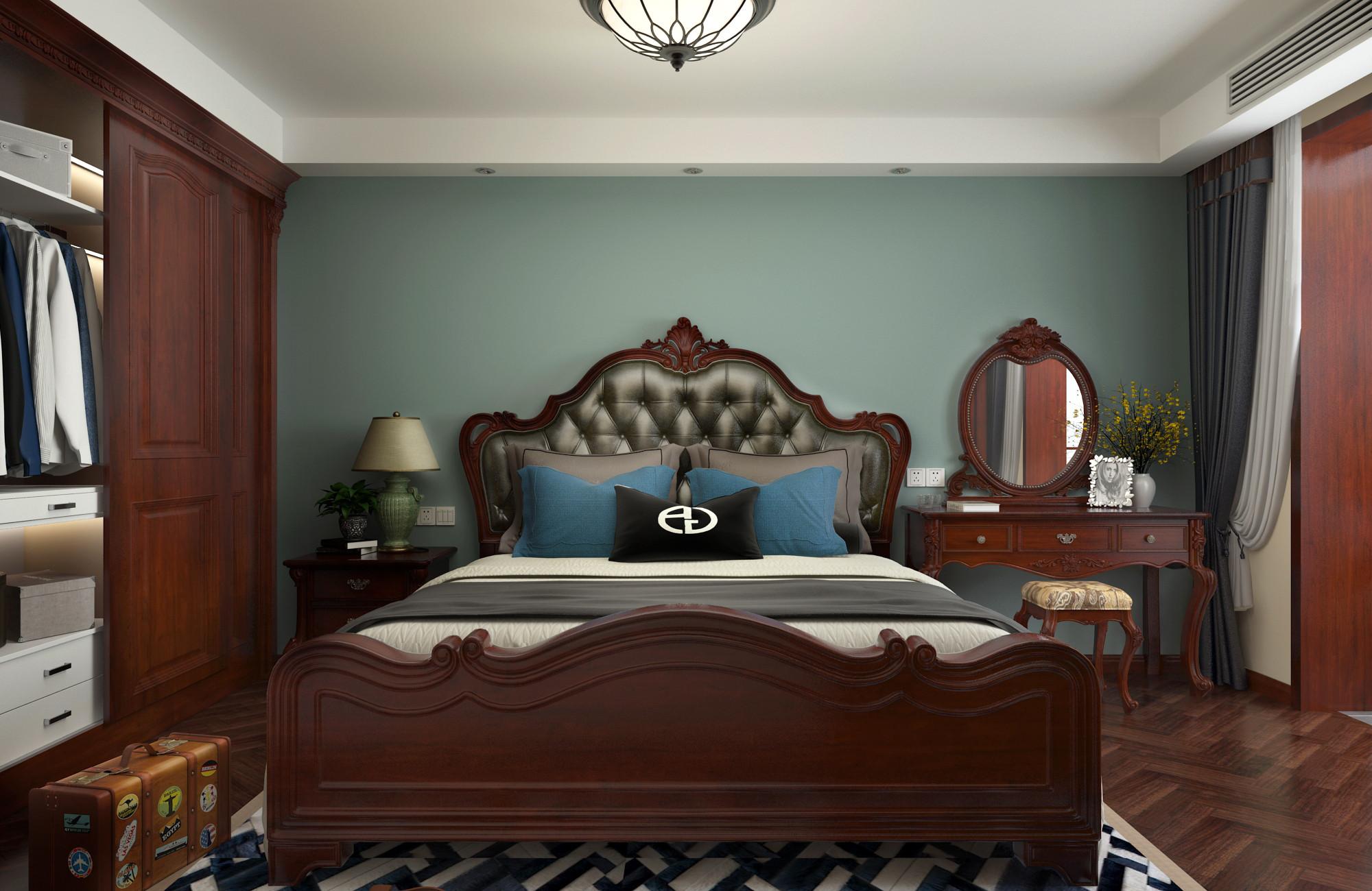 一居室美式之家床头软包图片