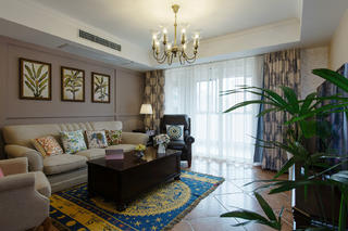 美式三居装修设计沙发背景墙图片