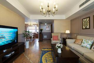 美式三居装修设计客厅效果图