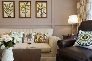 美式三居装修设计客厅一角