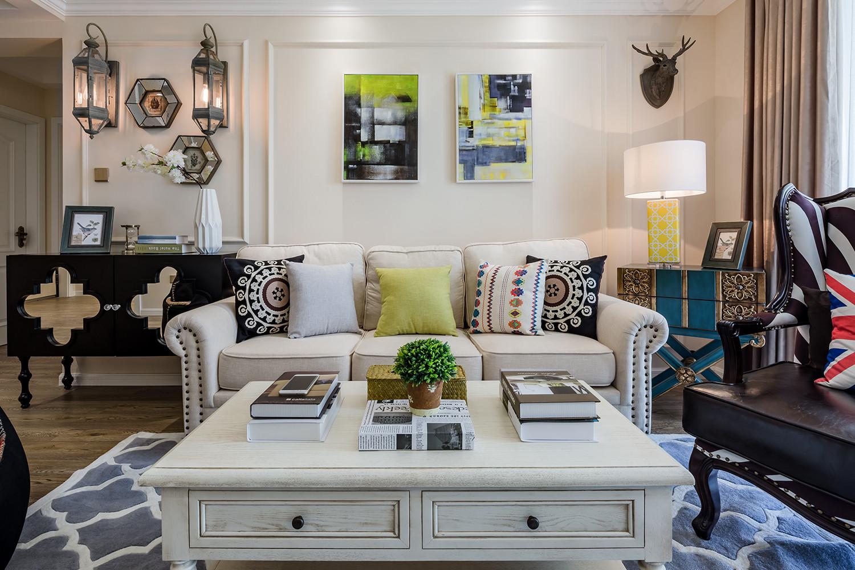 90平美式装修沙发背景墙图片