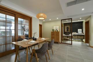 日式三居装修餐桌椅图片