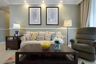 130㎡简美之家沙发背景墙图片