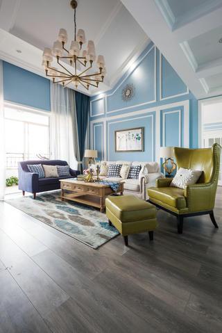复式美式风格装修沙发背景墙图片