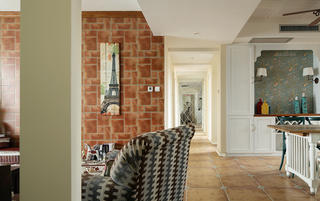 三居室田园风格家走廊图片