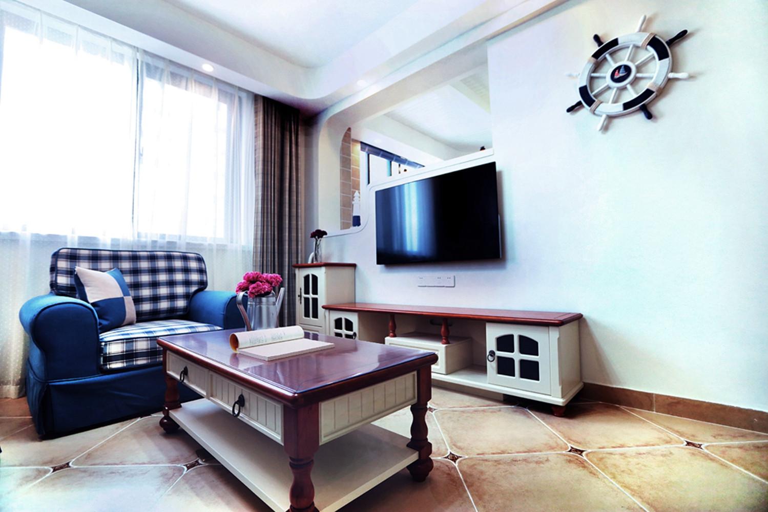 86平地中海风格家电视背景墙图片