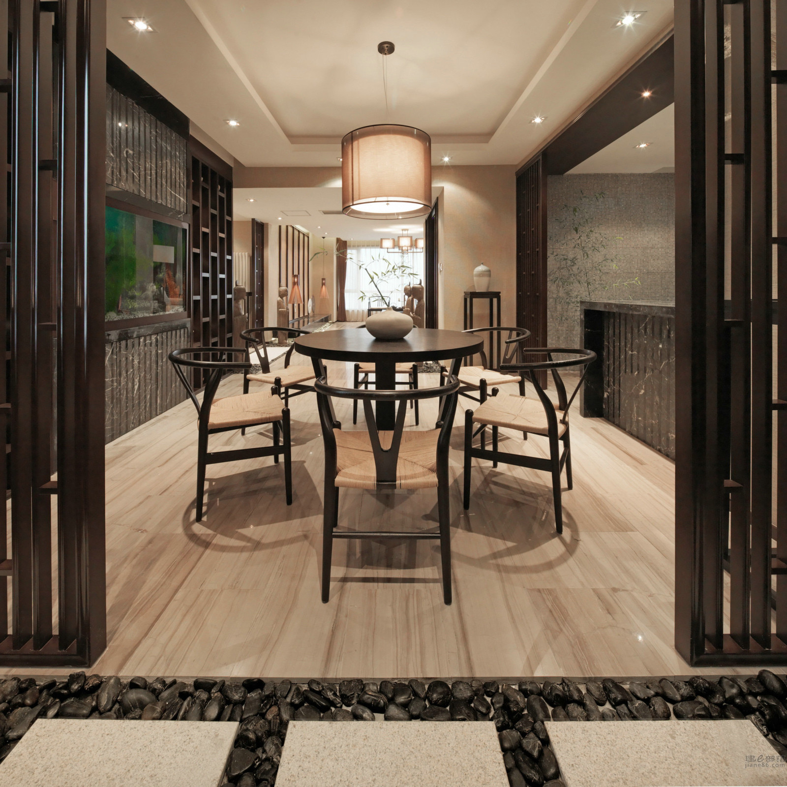 大户型新中式设计餐厅效果图
