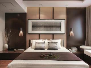 大户型新中式设计床头背景墙图片