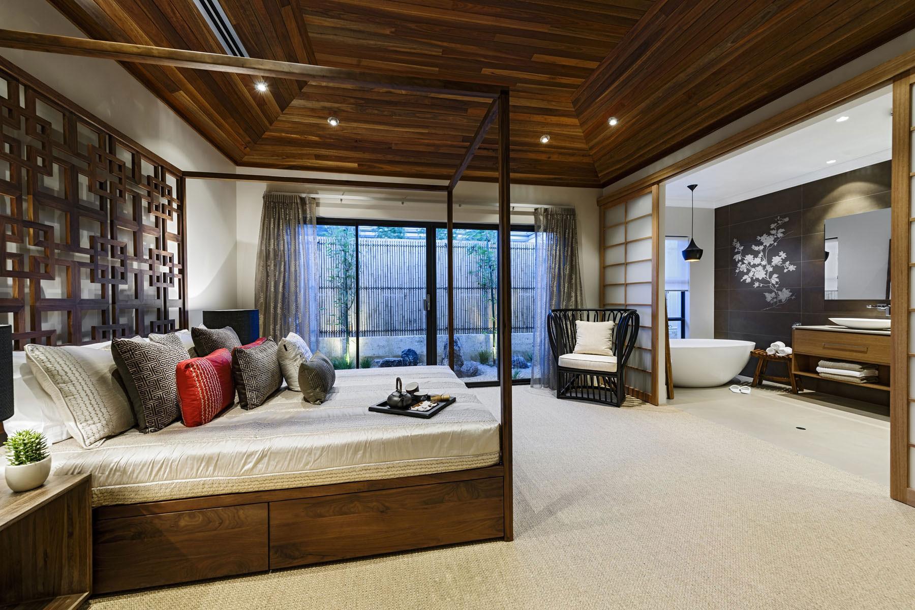 现代中式别墅装修卧室效果图