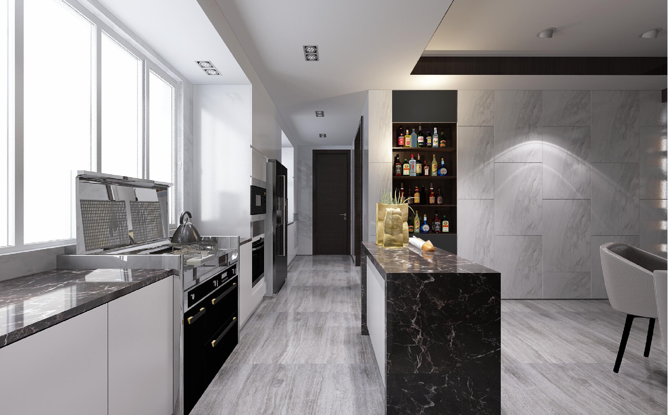 黑白灰调现代风格装修厨房过道