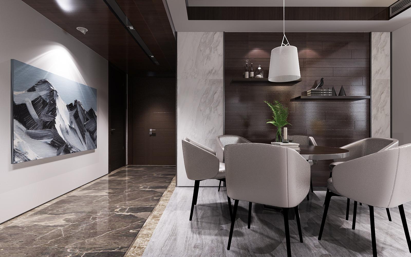 黑白灰调现代风格装修餐厅背景墙图片