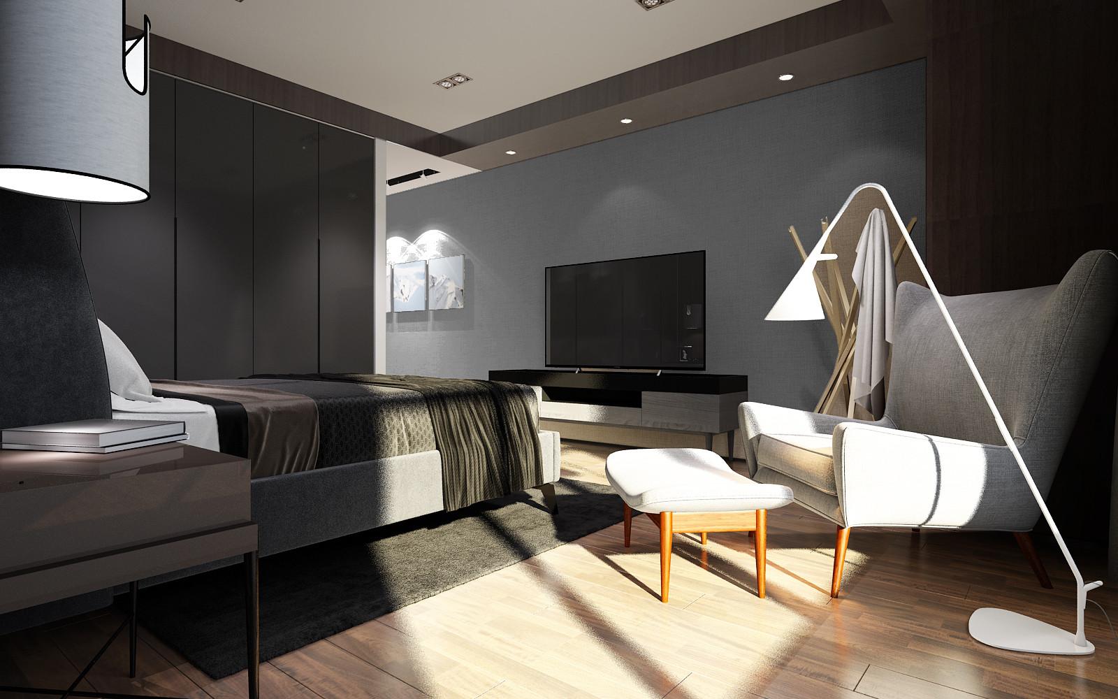 黑白灰调现代风格装修卧室布置图