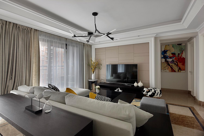 120平现代风格装修电视背景墙图片
