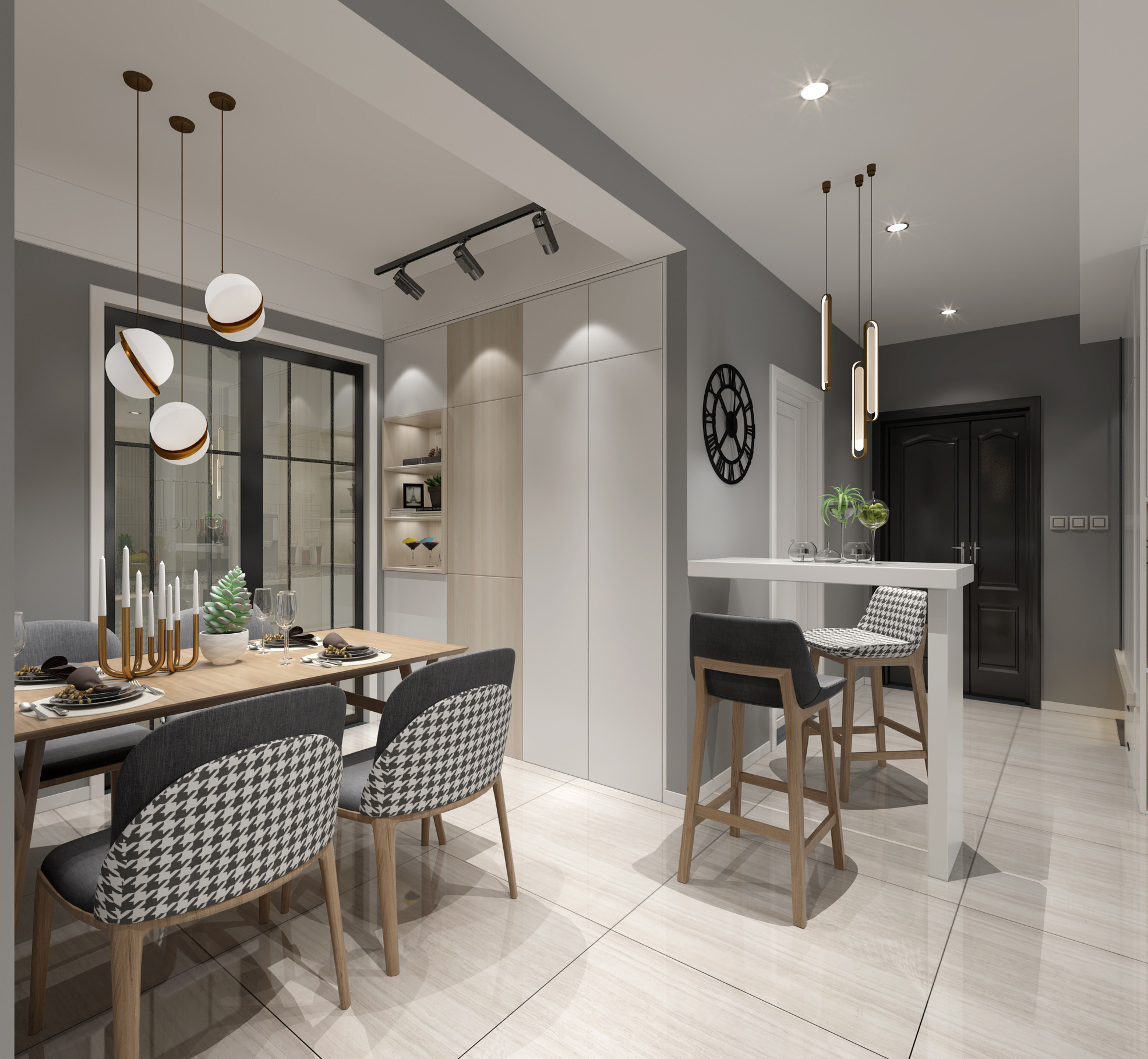三居室北欧之家餐厅设计图
