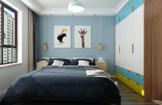 北欧二居室装修床头背景墙图片