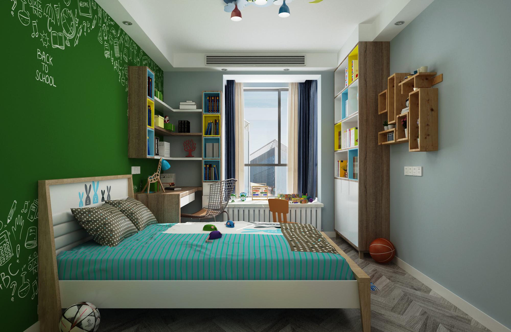 120平现代简约装修儿童房效果图