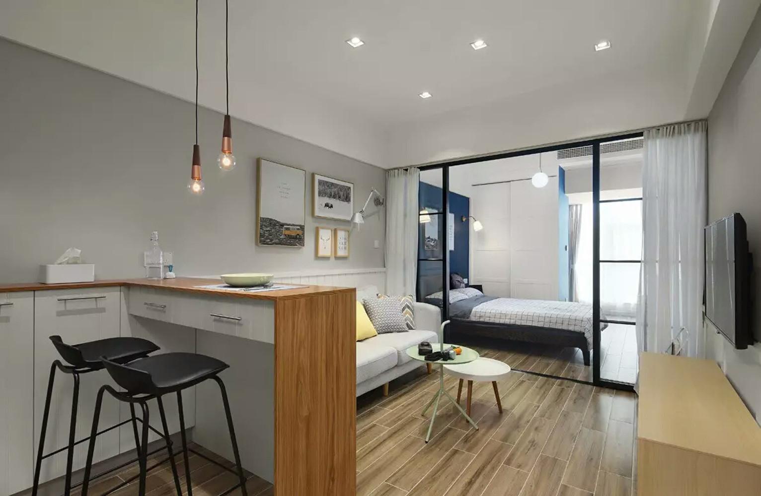 一居室小户型装修餐客卧布局图