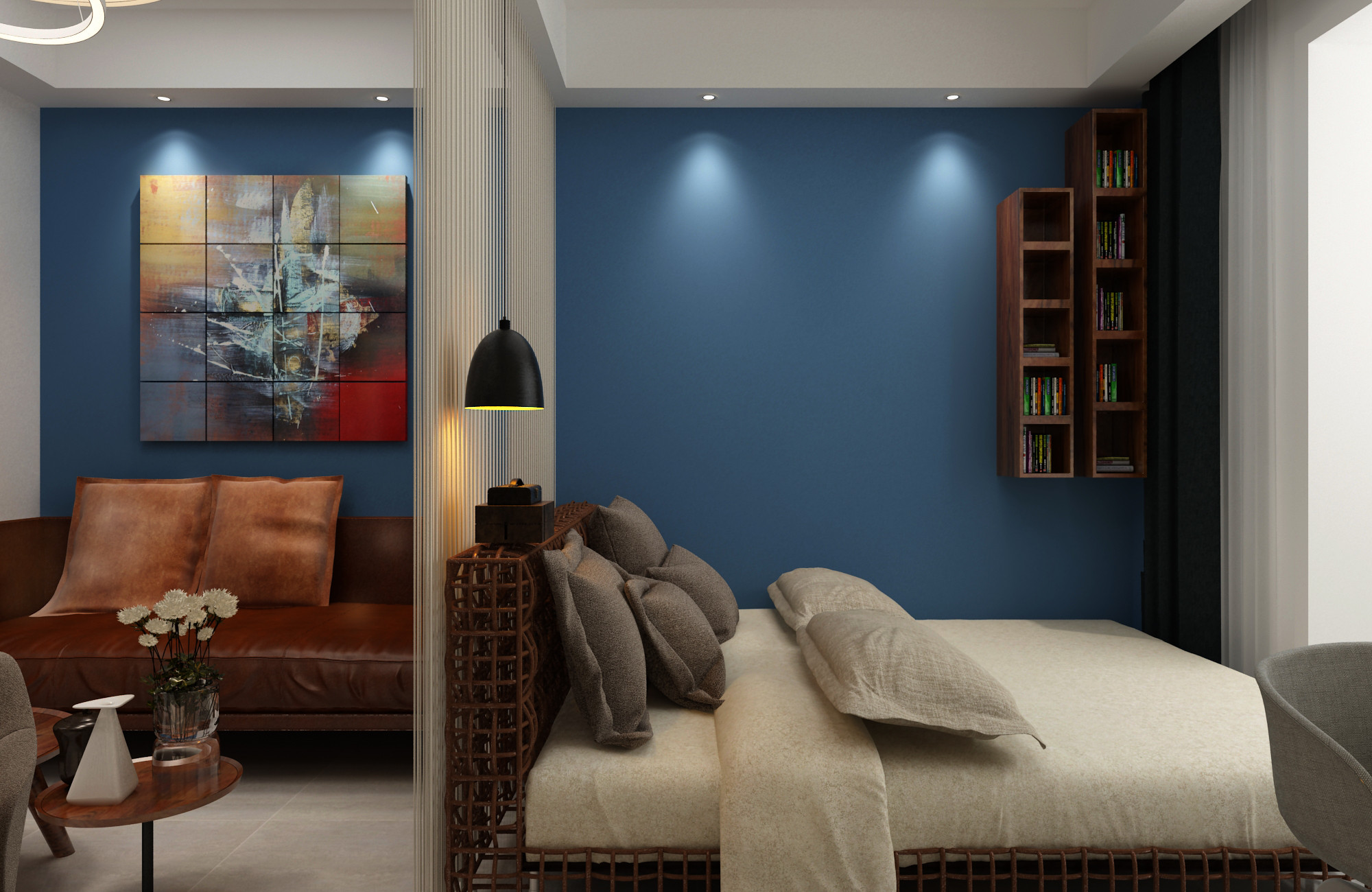 一居室小户型装修卧室背景墙图片
