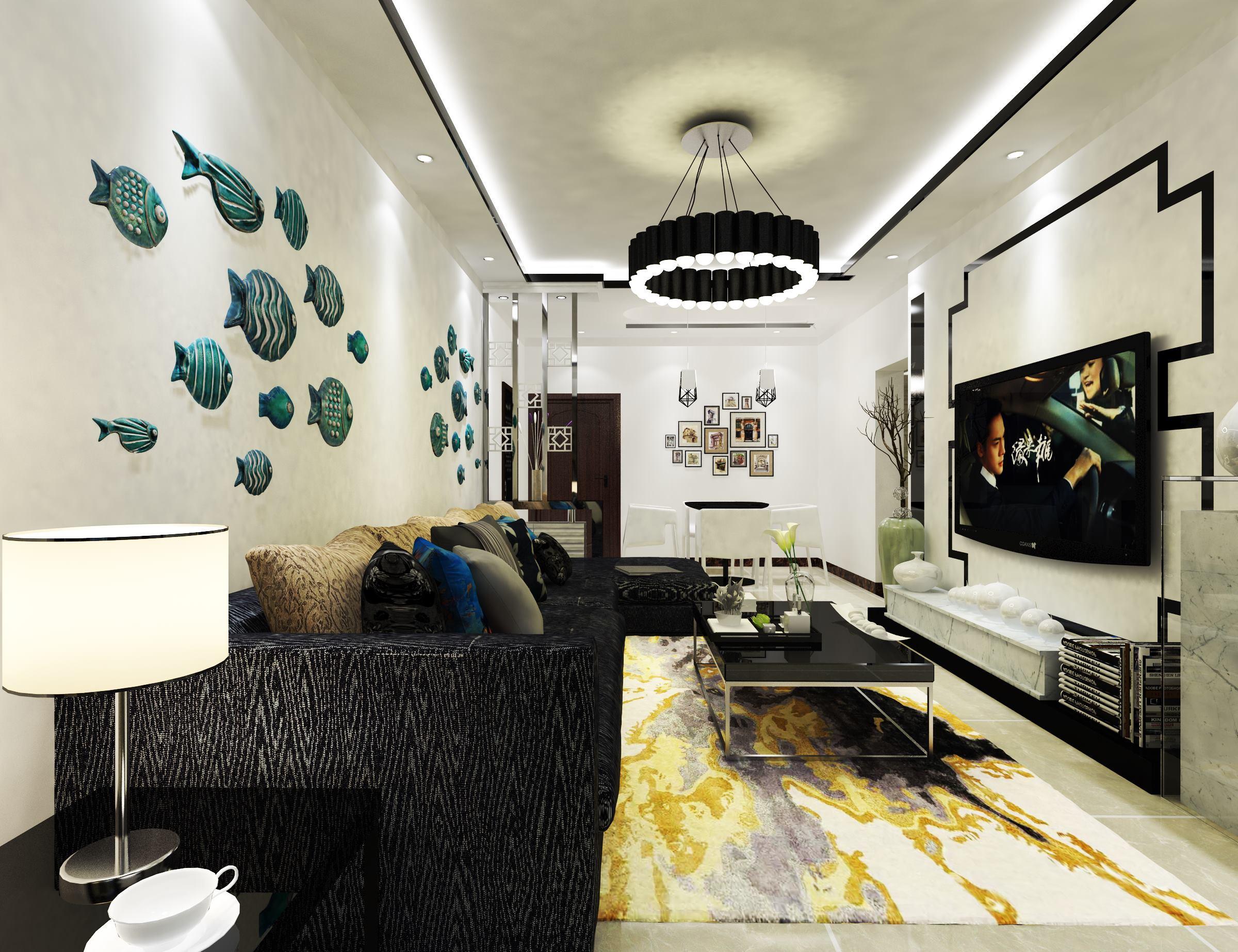 黑白调简约二居装修客厅效果图