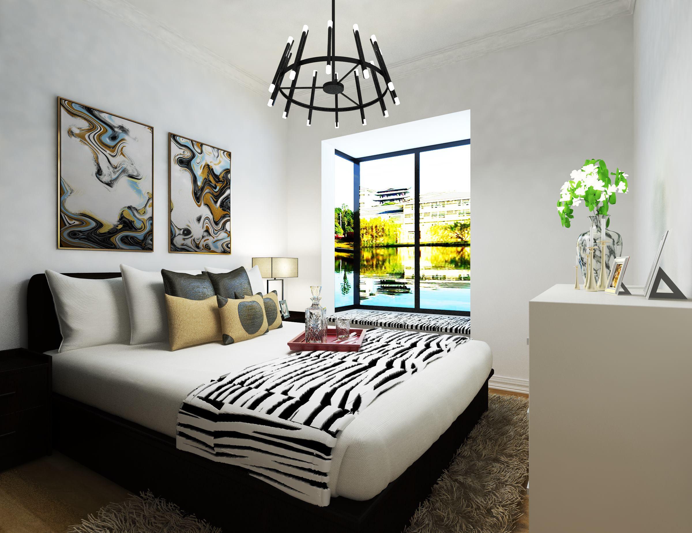 黑白调简约二居装修卧室效果图
