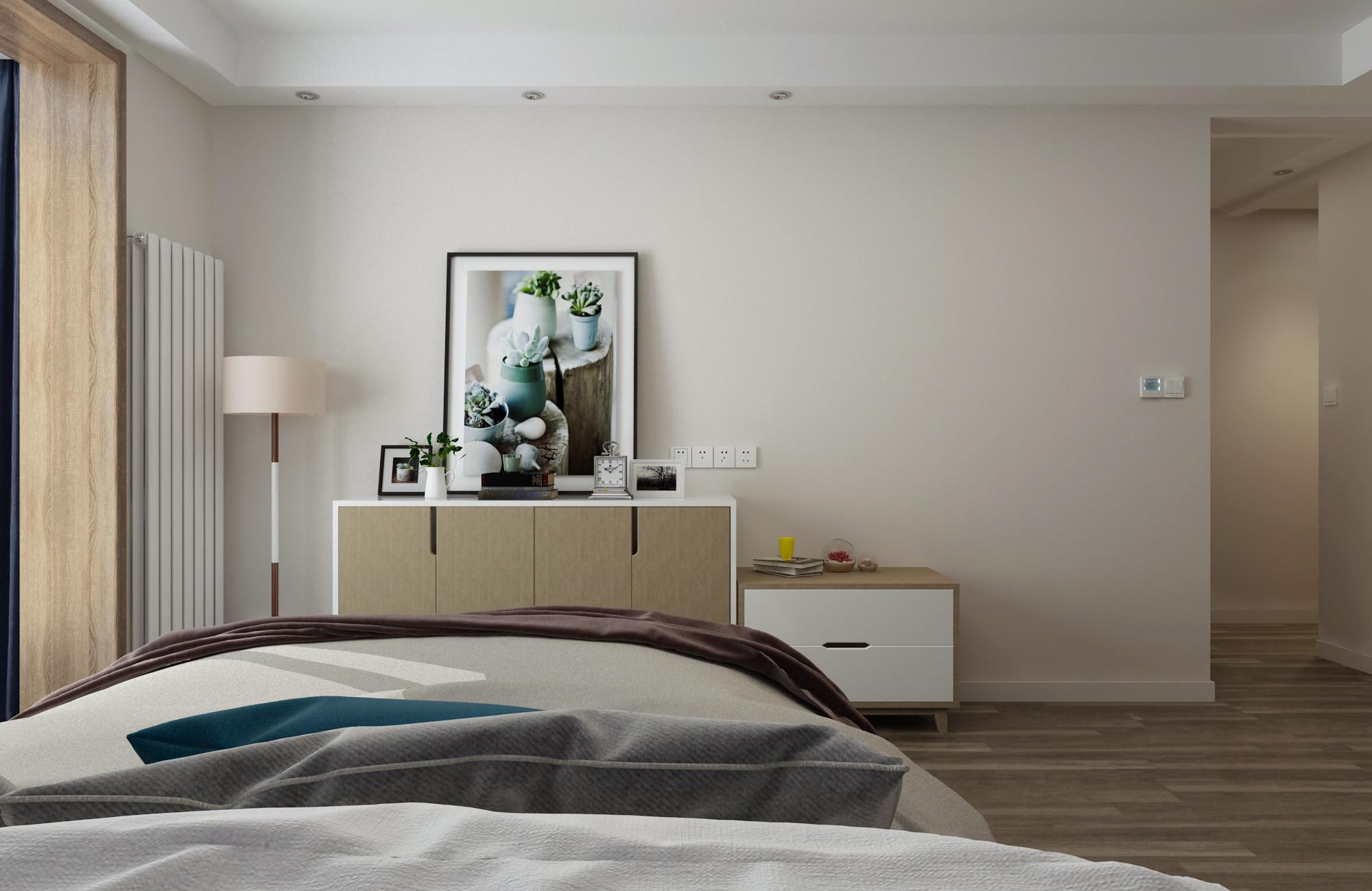 现代简约三居装修卧室边柜图片