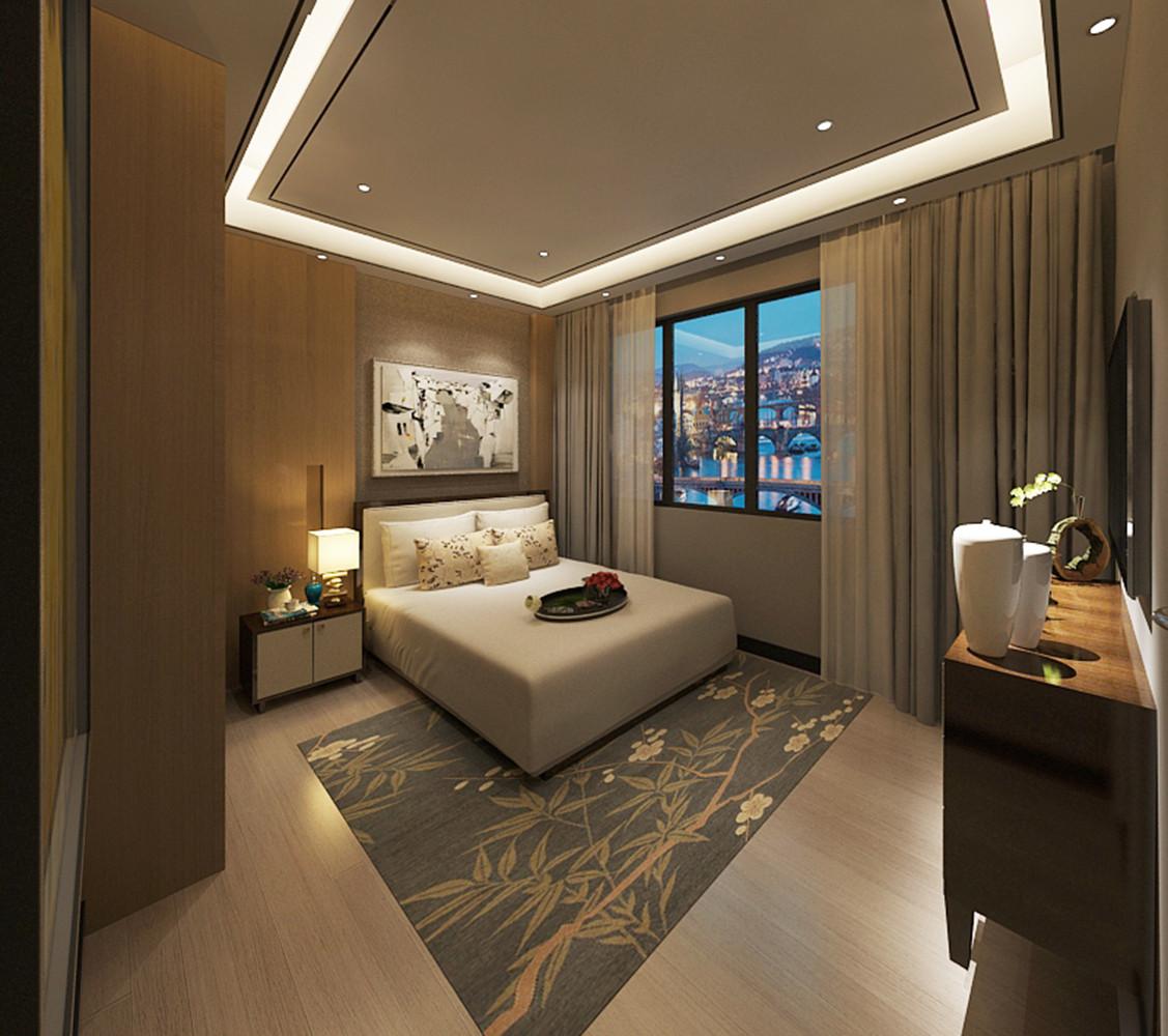 新中式别墅装修卧室吊顶图片