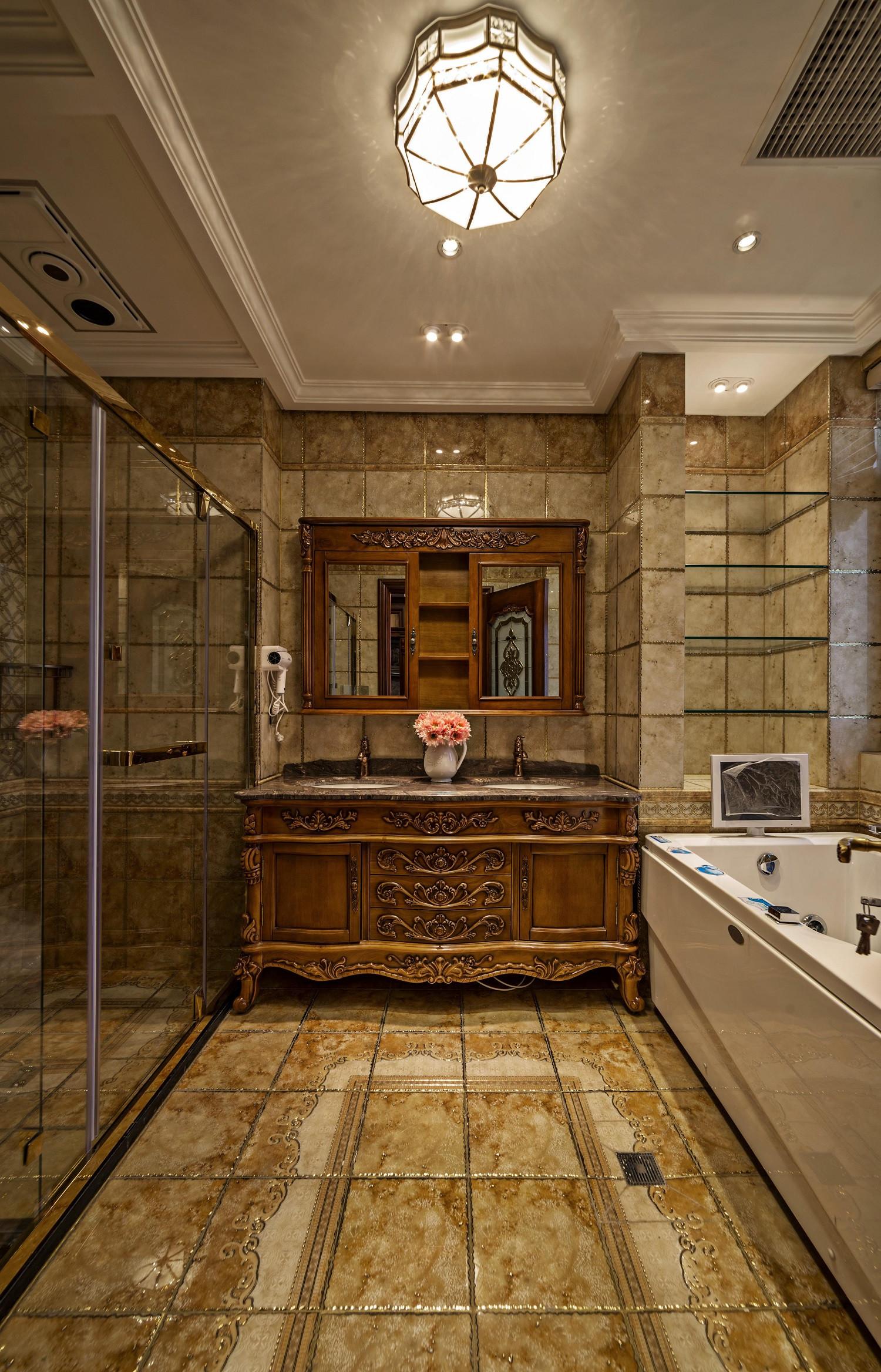 美式古典别墅装修洗手台图片