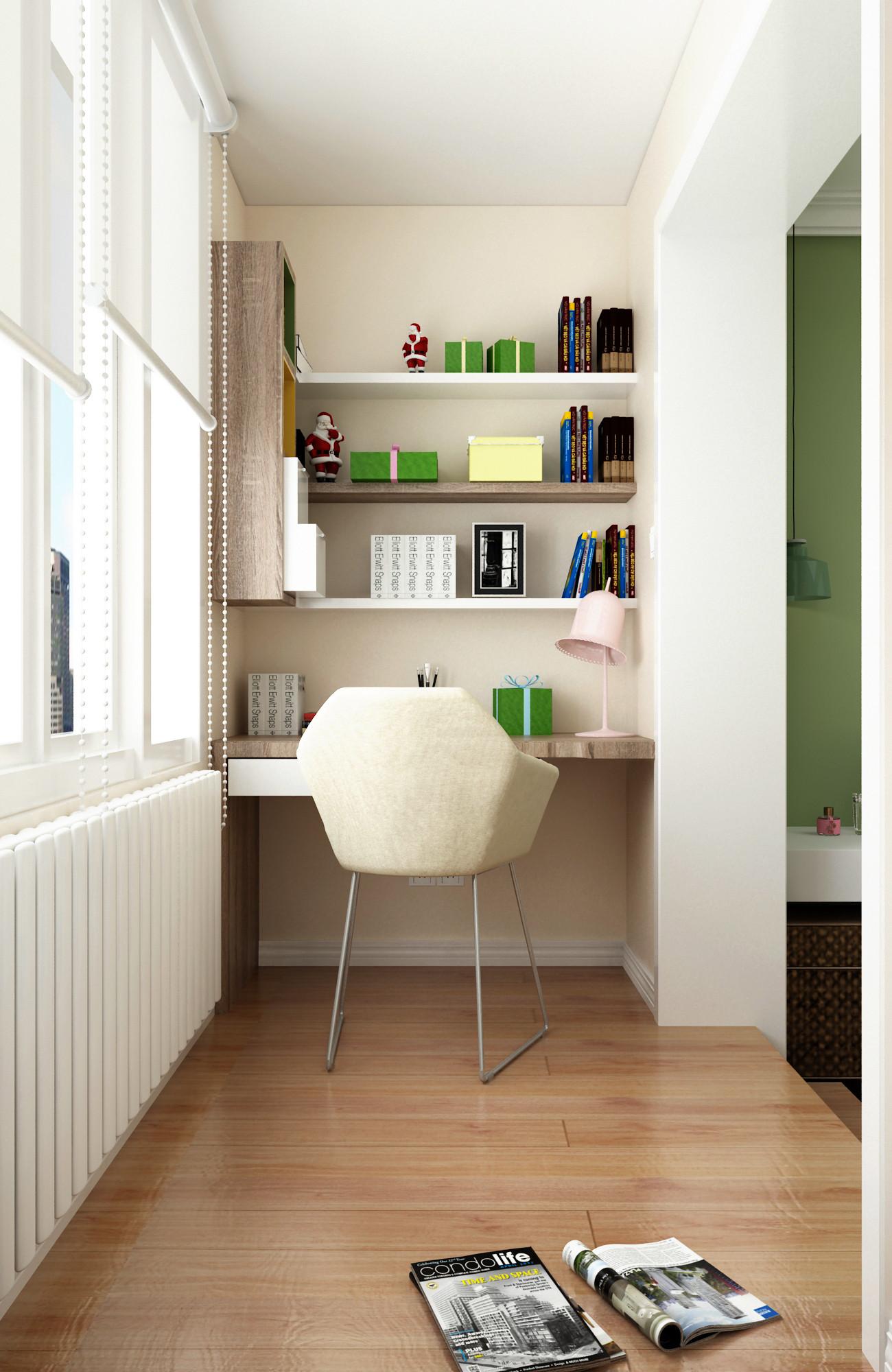 三居室现代简约之家阳台写字台图片