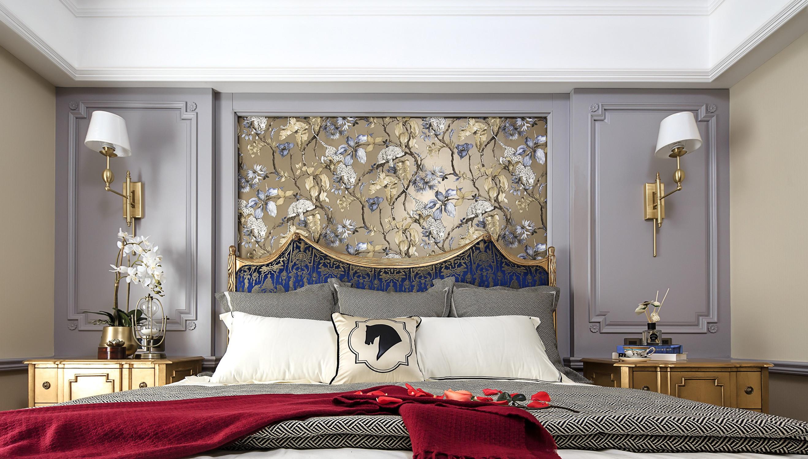 混搭三居装修床头背景墙图片