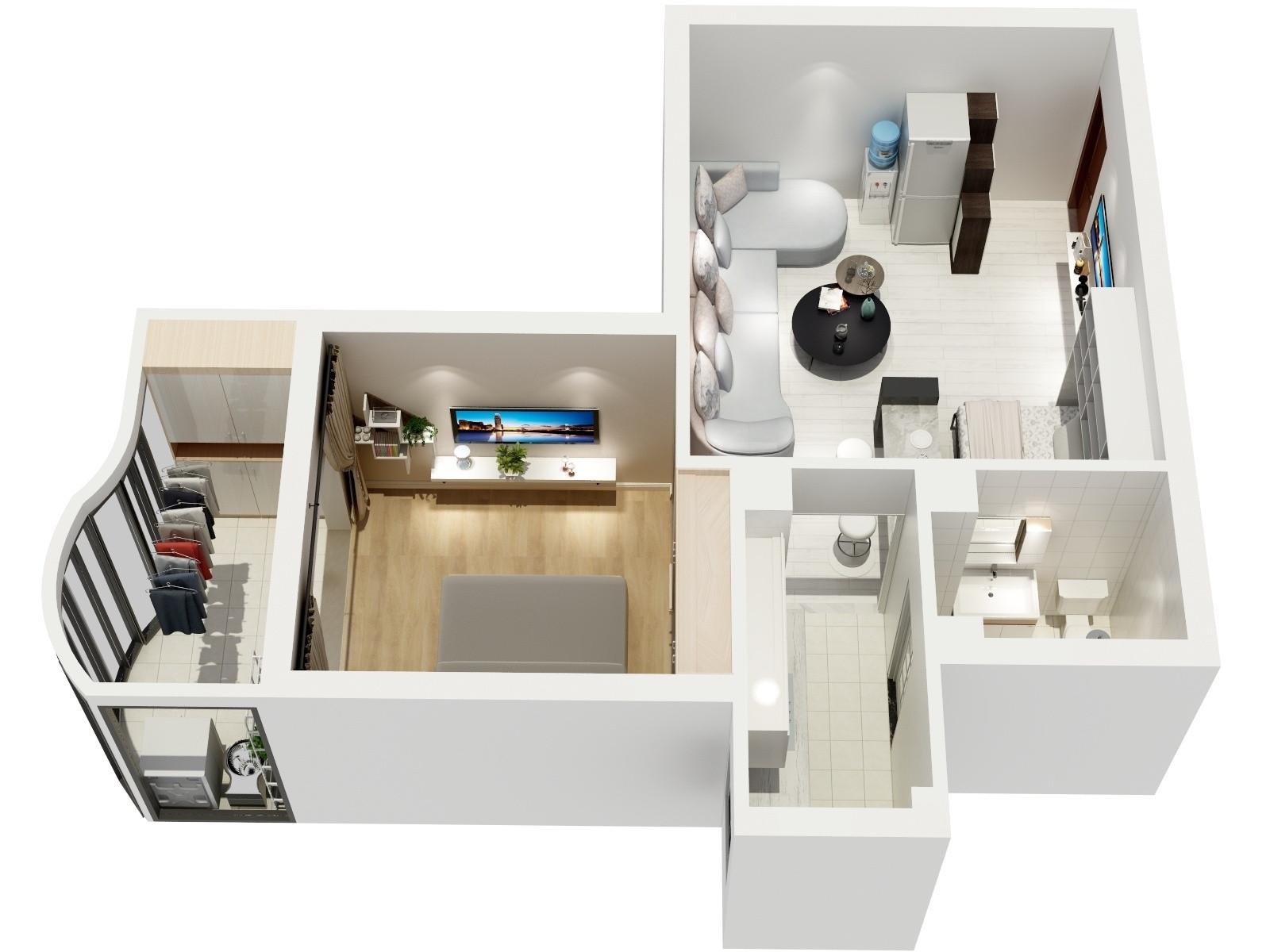一居室小户型装修立体户型图
