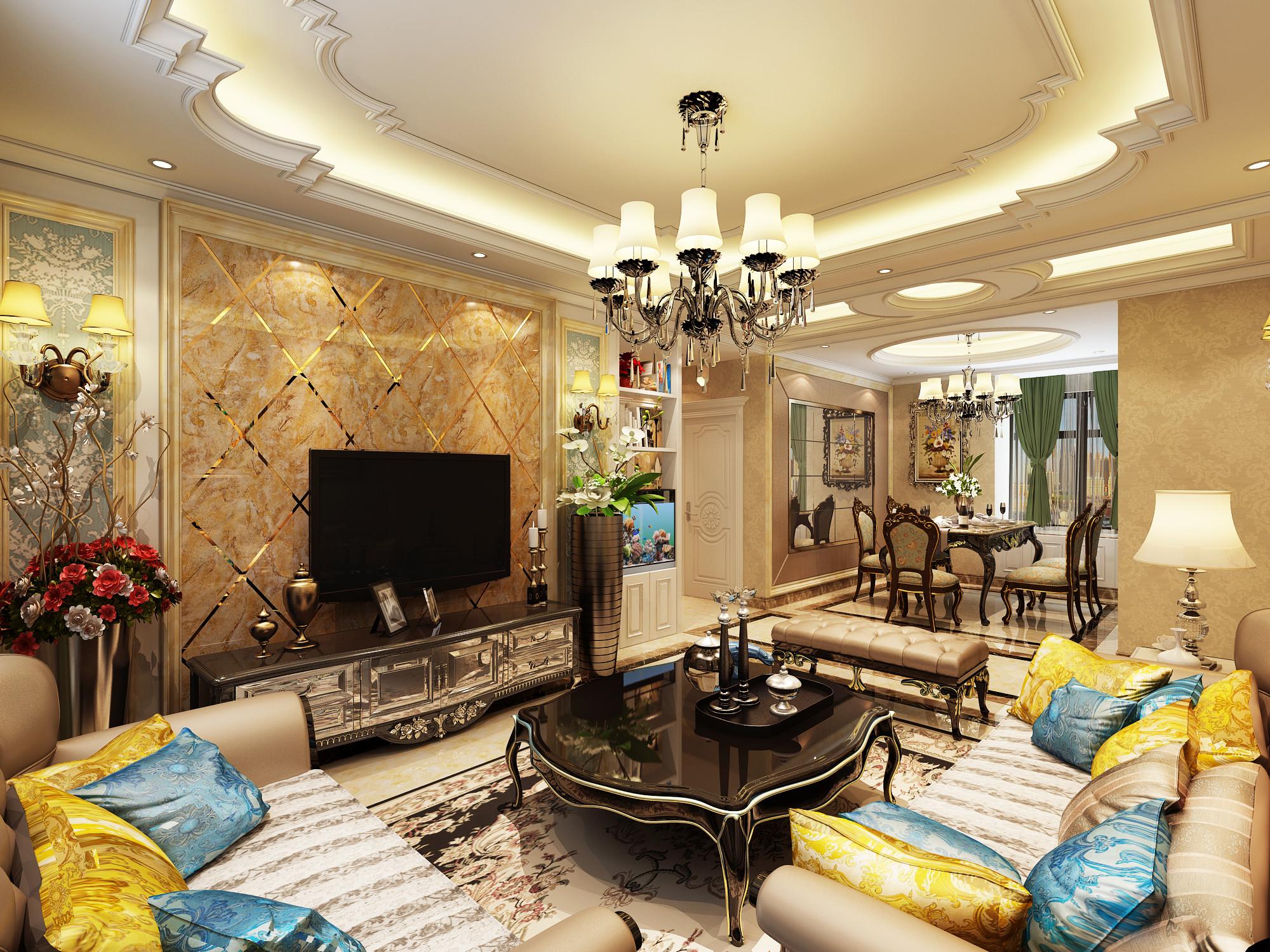 欧式风格公寓黑白经济型120平米餐厅餐桌海外家居