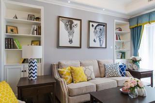 130平美式装修沙发背景墙图片