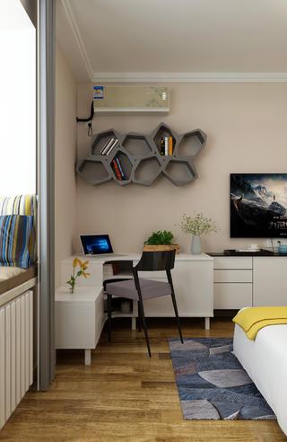 三居室现代简约设计卧室一角