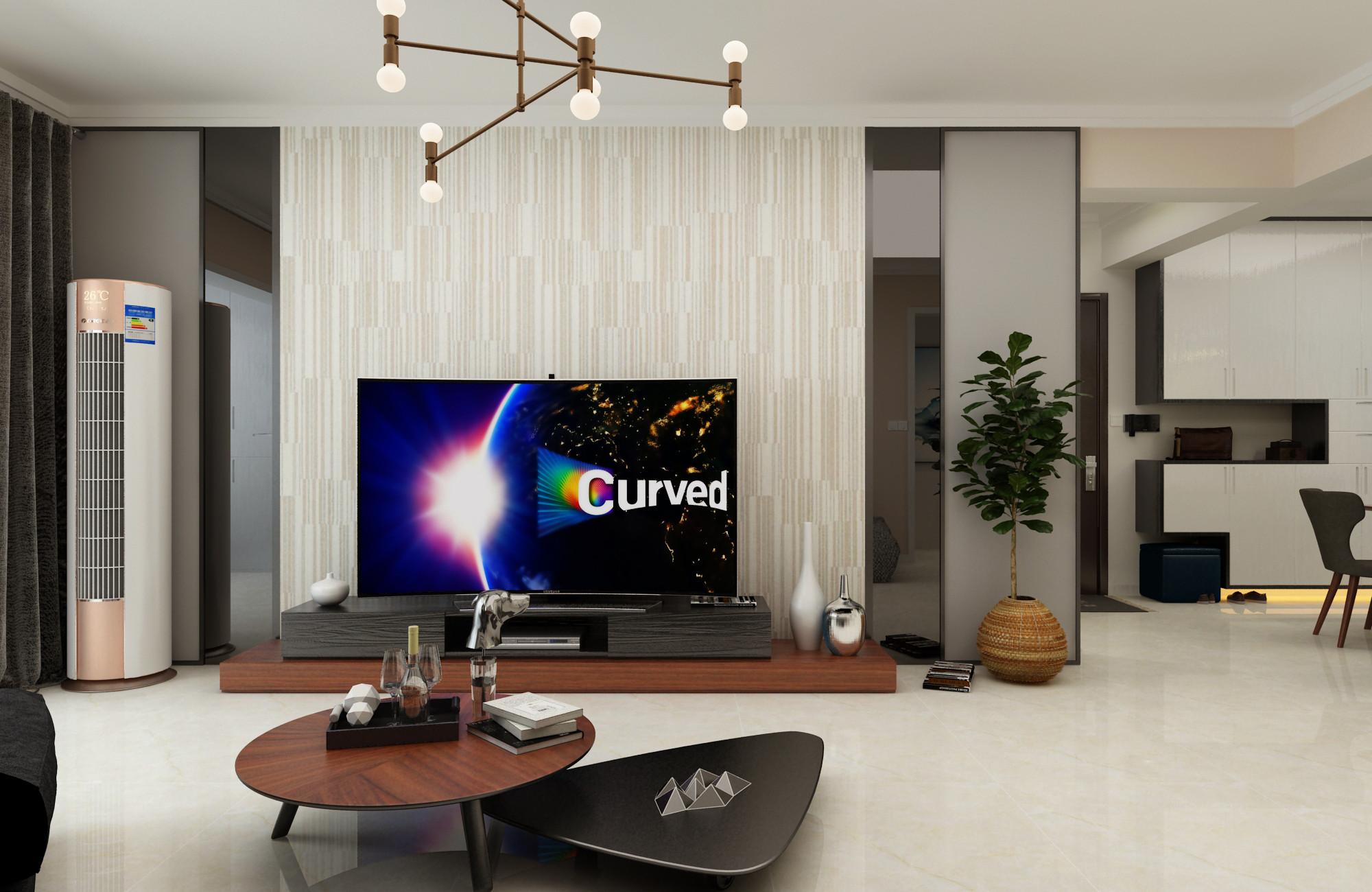 三居室现代简约设计电视背景墙图片