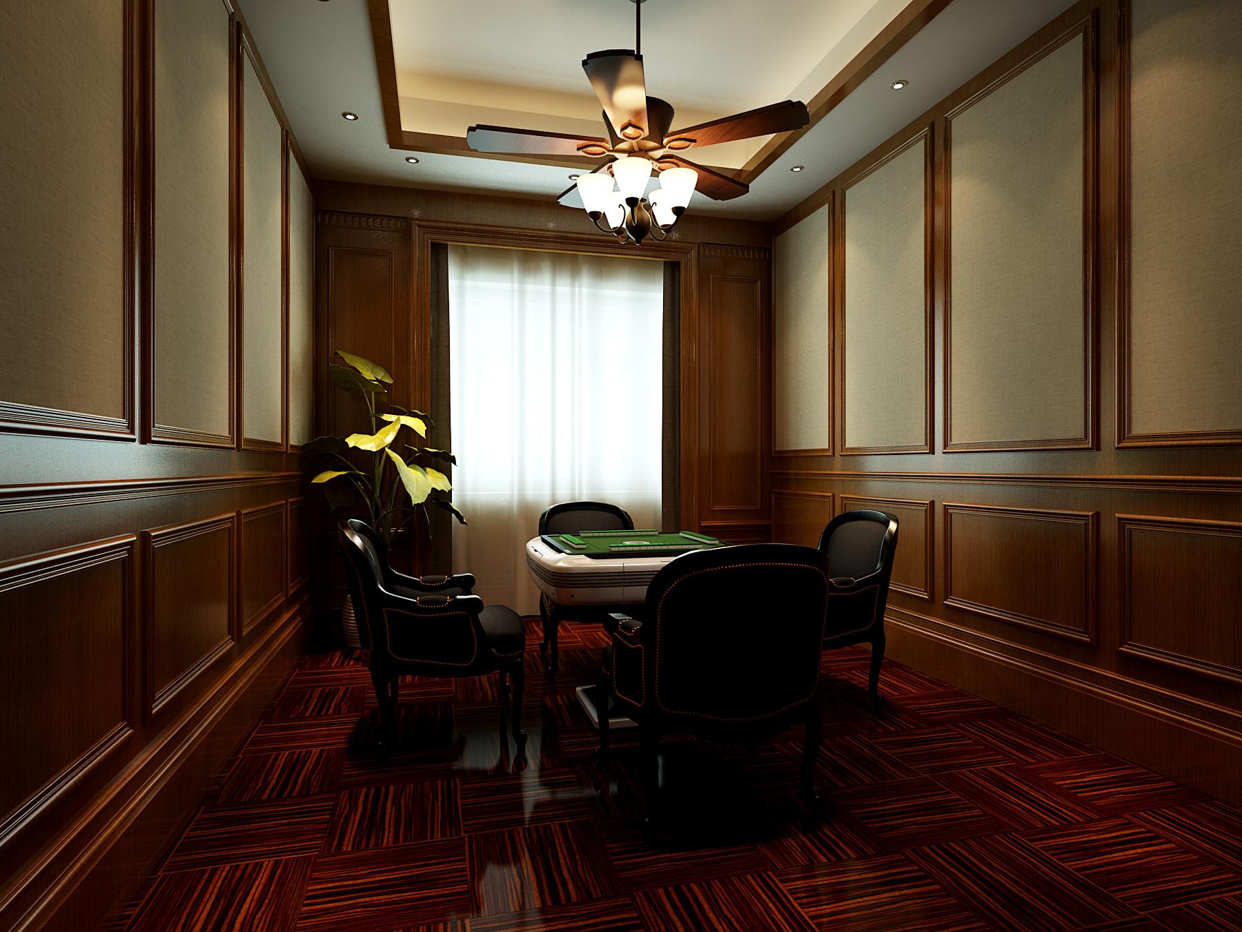 美式豪华四房装修娱乐室效果图