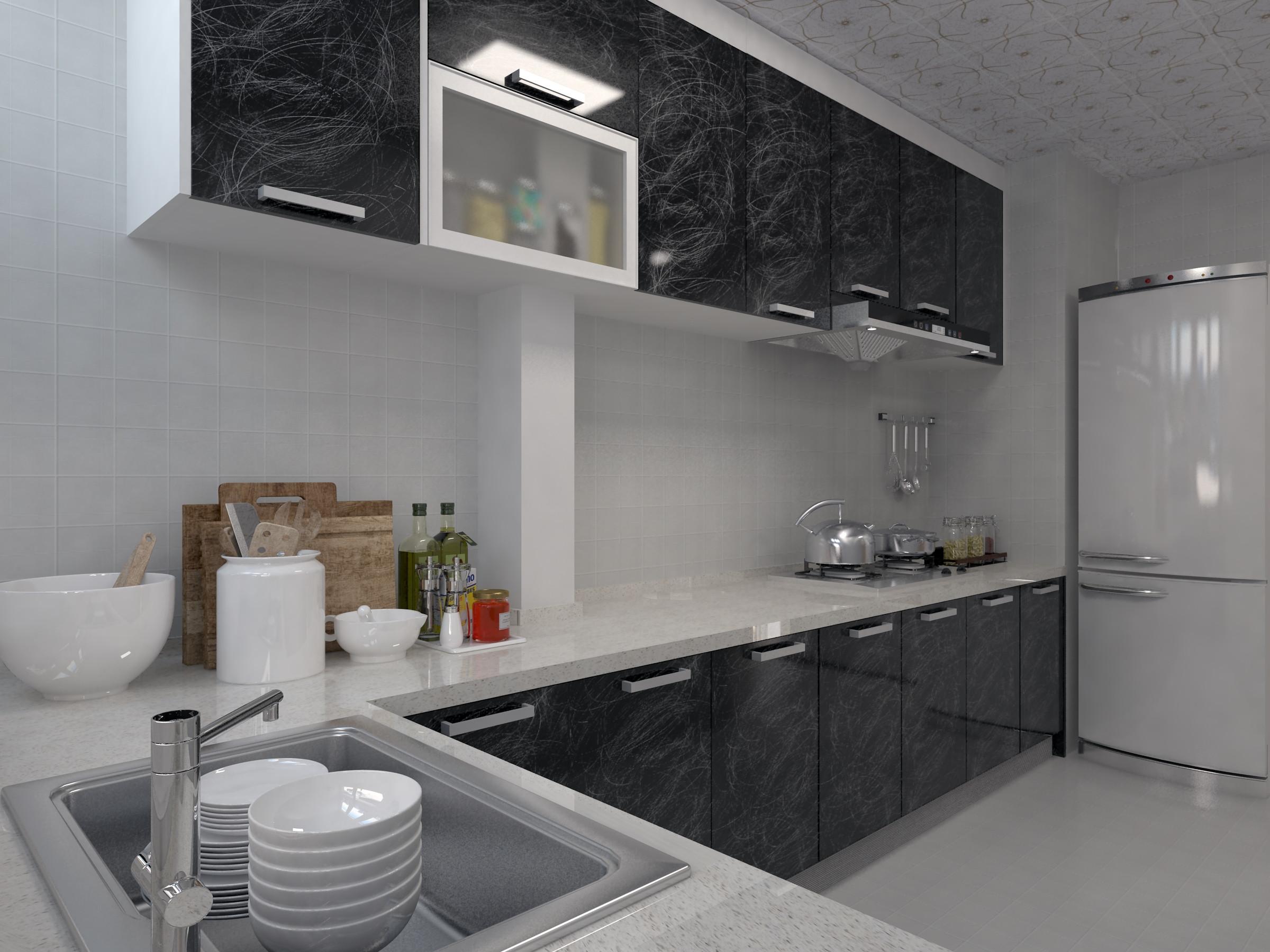 130㎡简约装修厨房构造图